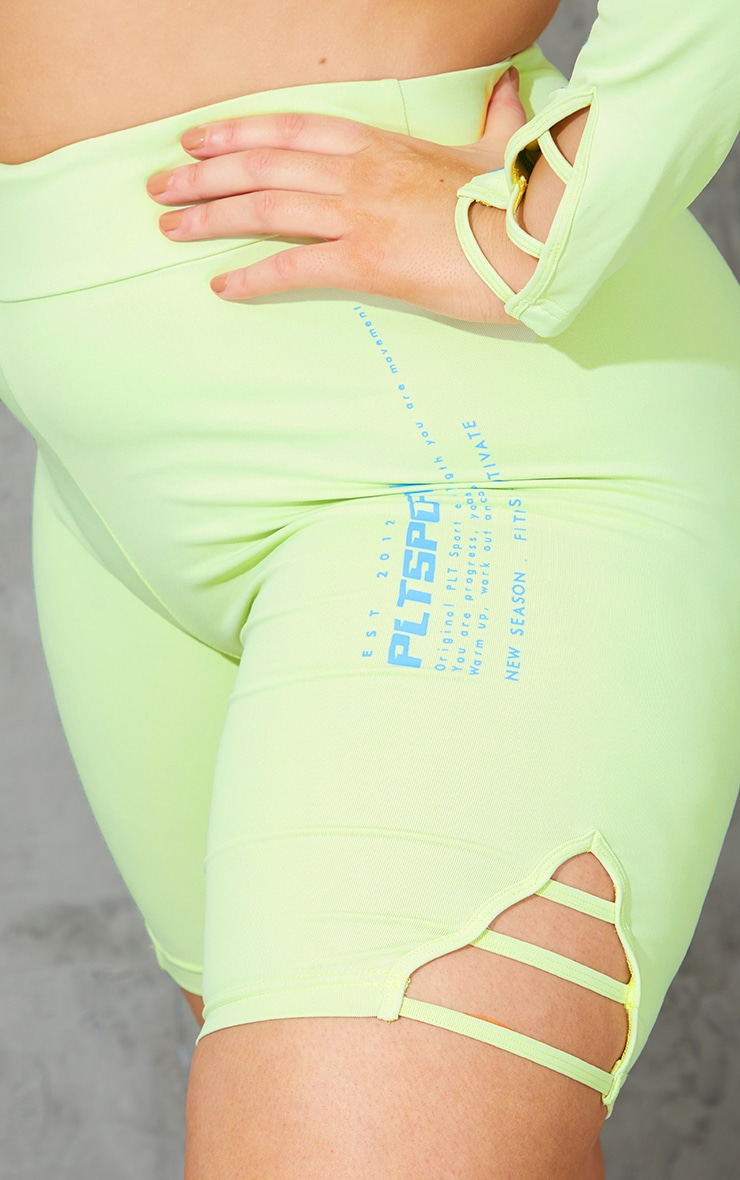 Plus Lime Cut Out Piping Detail Bike Shorts 5