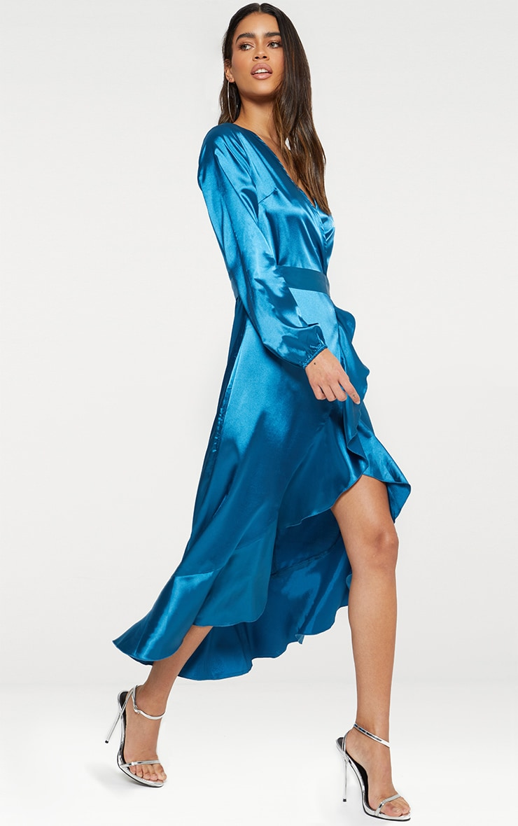 Wrap Plunge Frill Detail Long Sleeve Satin Midaxi 1