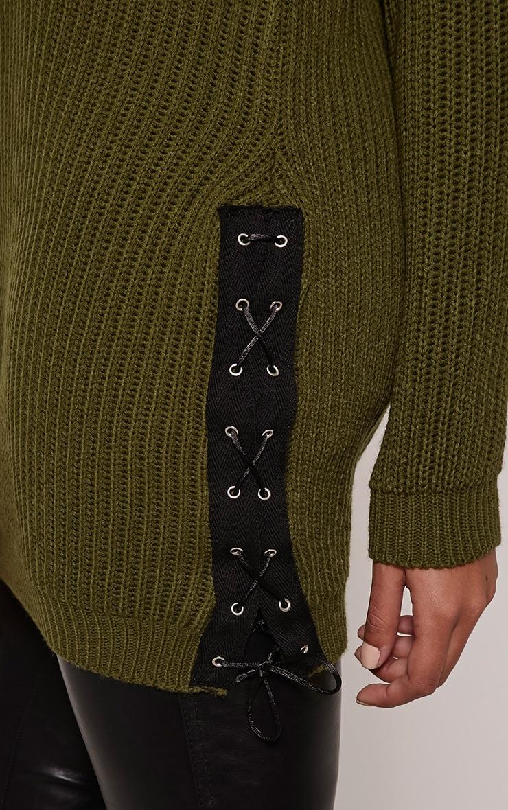 Sarina Khaki Lace Up Detail Jumper 5