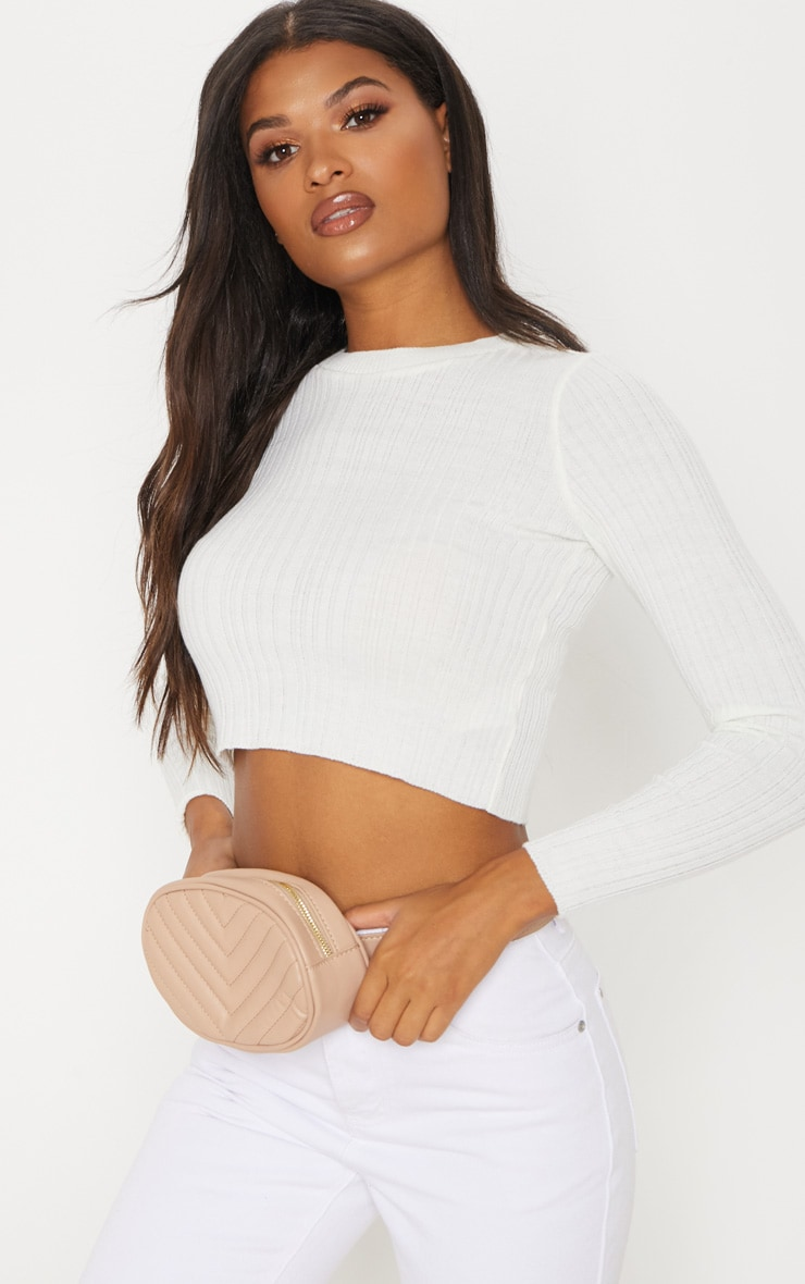Cream Long Sleeve Knitted Top