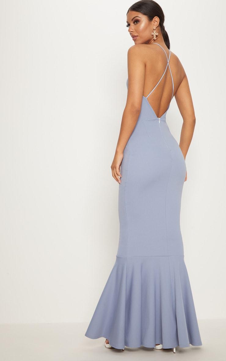 Dusky Blue Cross Back Fishtail Maxi Dress