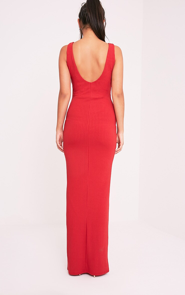 Decota Red Ribbed Plunge Maxi Dress 2