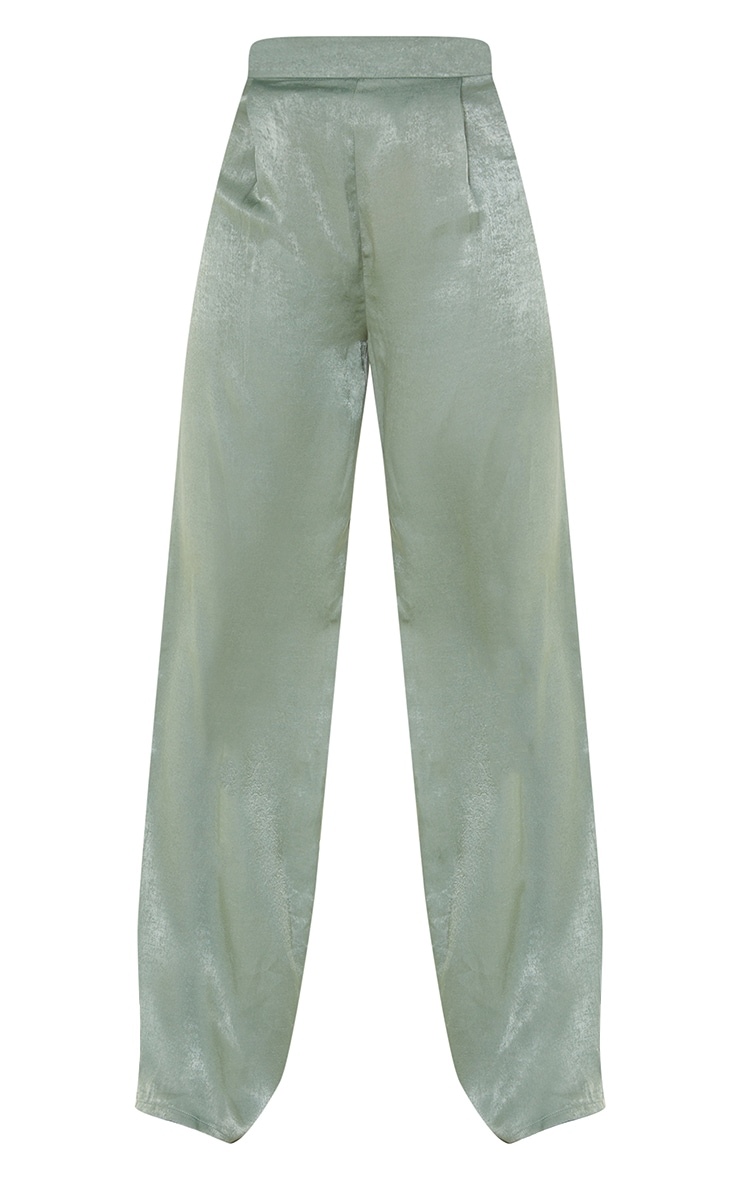 Tall Olive Hammered Satin High Waisted Pants 5
