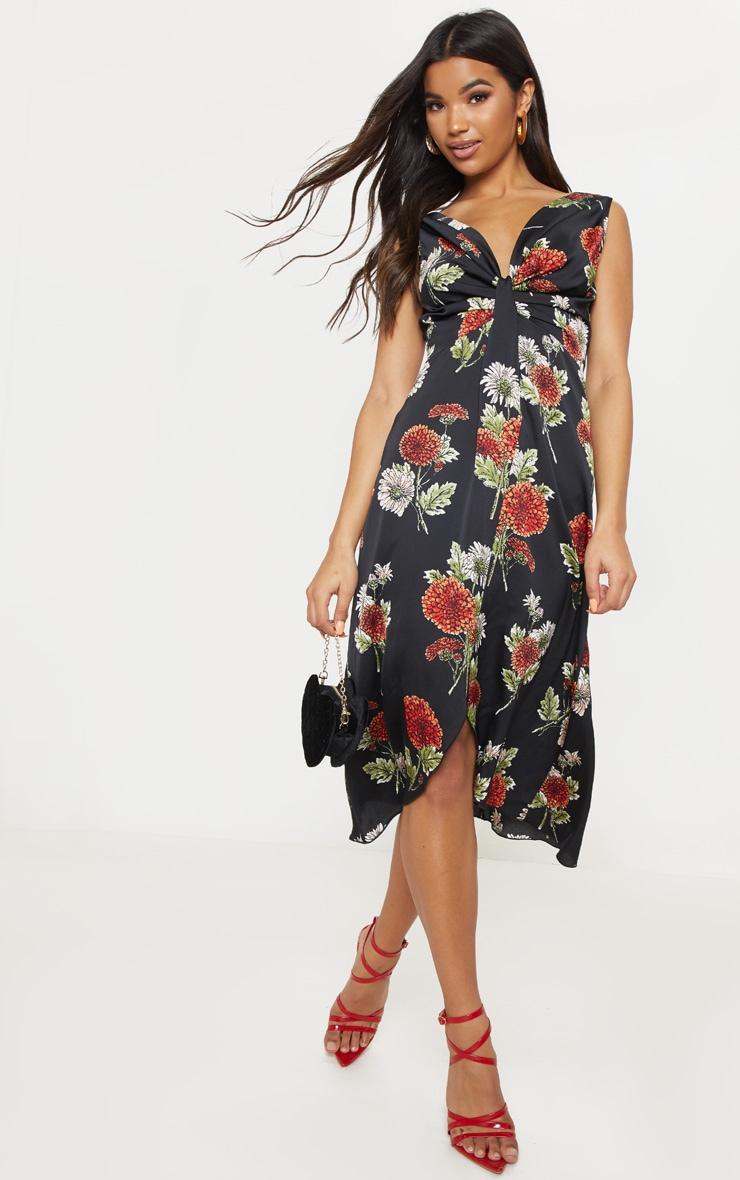 Black Floral Twist Front Drape Detail Midi Dress 1