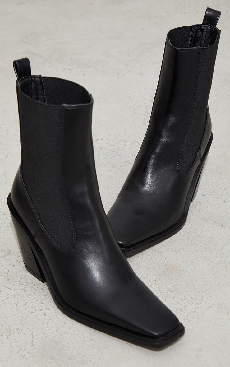 Black PU Square Toe Western Ankle Boots 3