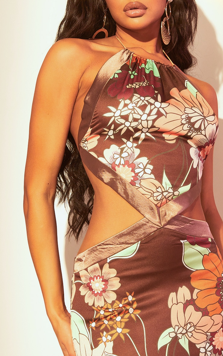 Brown Retro Floral Print Bodycon Dress 4