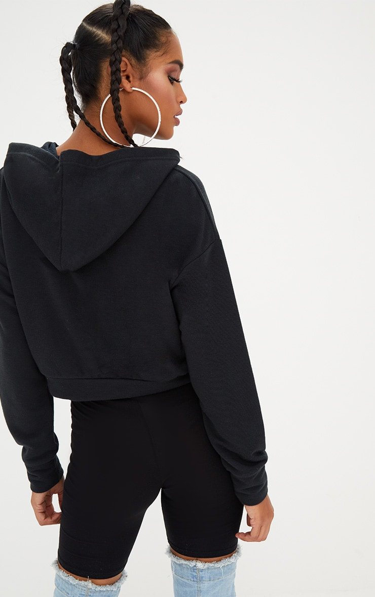 Black Lace Up Front Cropped Hoodie  2