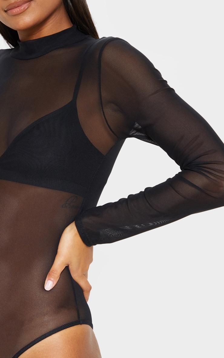 Aurban body-string en tulle à manches longues col roulé noir 6
