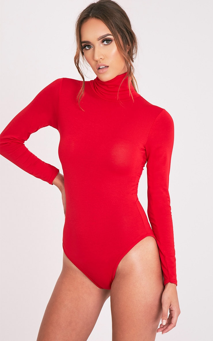 Basic Red Roll Neck Bodysuit 5