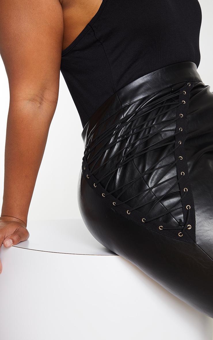 Plus Black PU Lace Up Detail Trouser 4