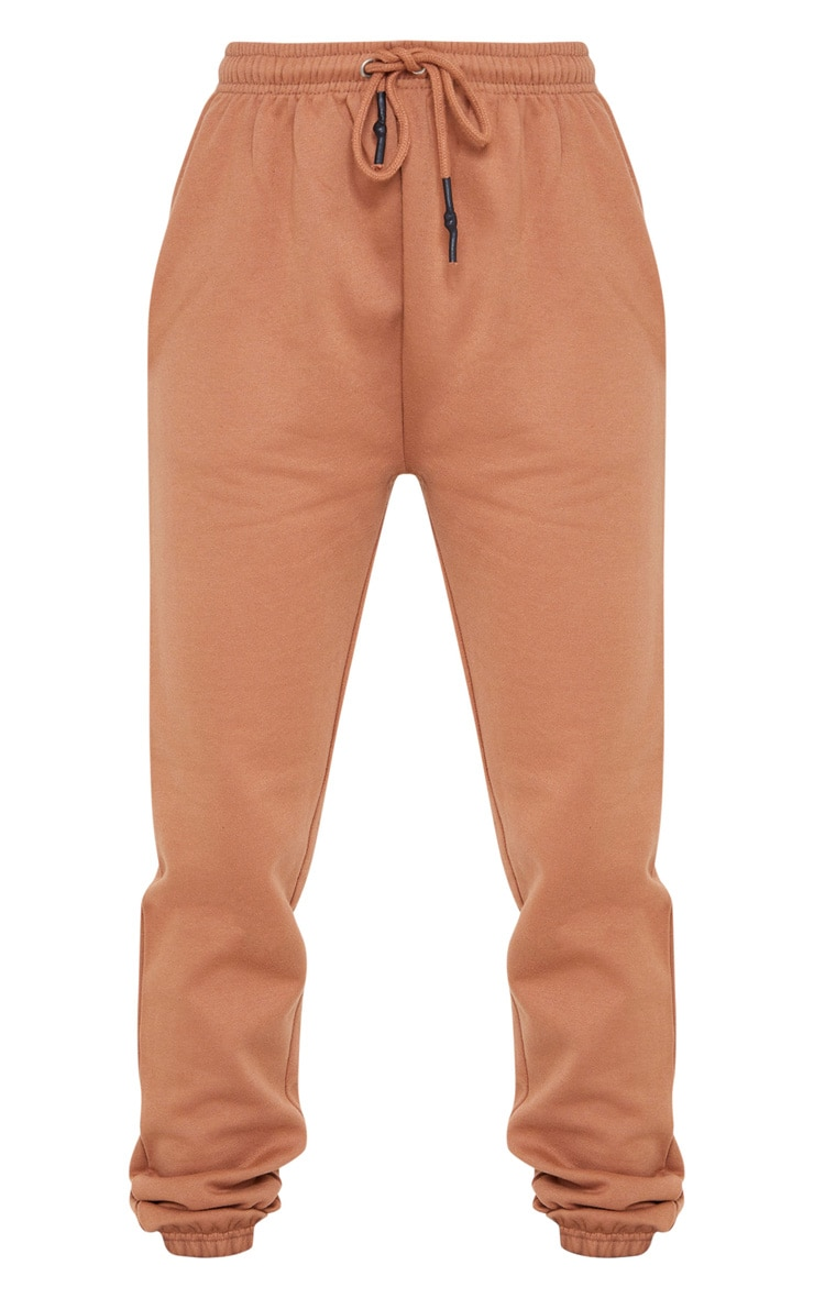 Tan High Waist Wax Toggle Joggers 5