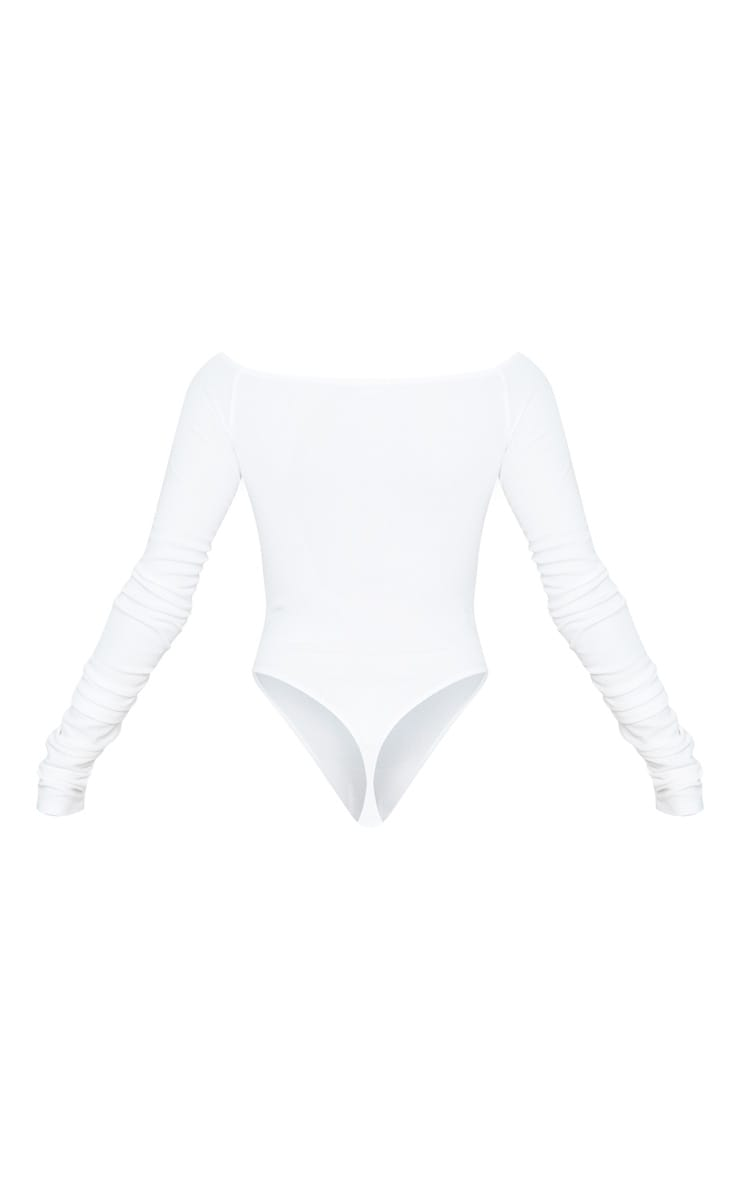 White Bardot Zip Ruched Sleeve Bodysuit 4