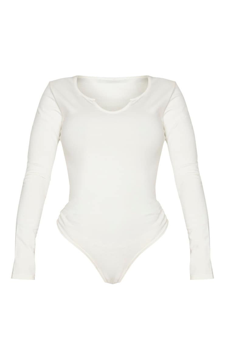 Shape Cream Cotton V Neck Long Sleeve Bodysuit 3