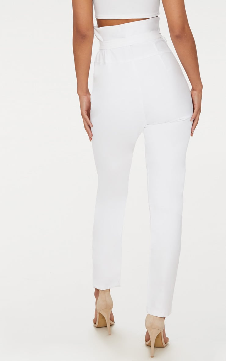 White High Waisted Tie Detail Slim Leg Trousers 4