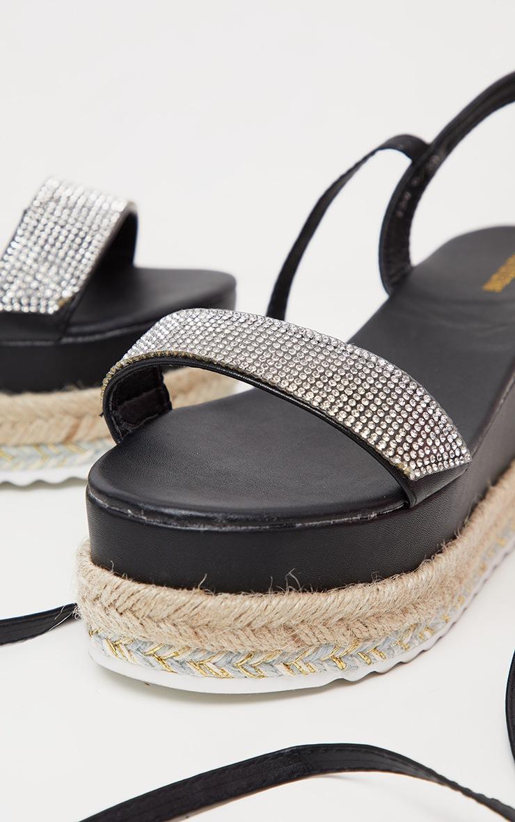 Sandales style flatform noires à strass et lacet cheville  4