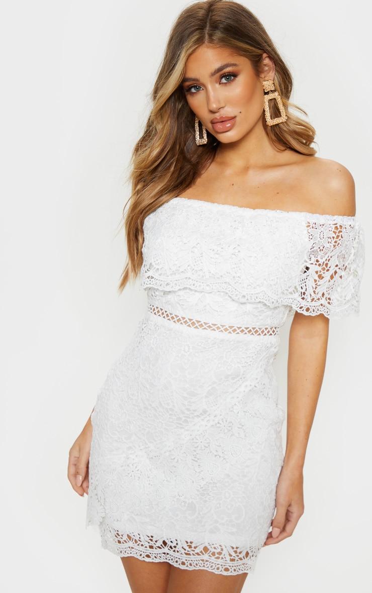 White Bardot Lace Shift Dress 1