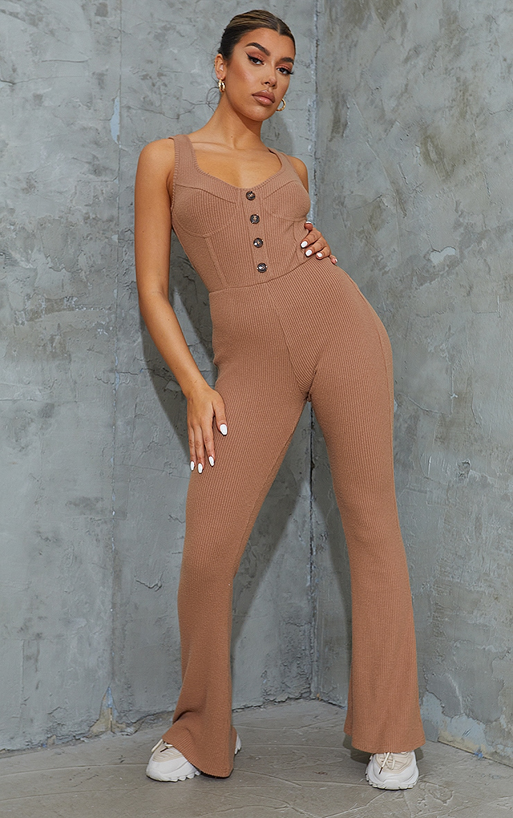 Camel Brushed Rib Cup Detail Button Flared Jumpsuit