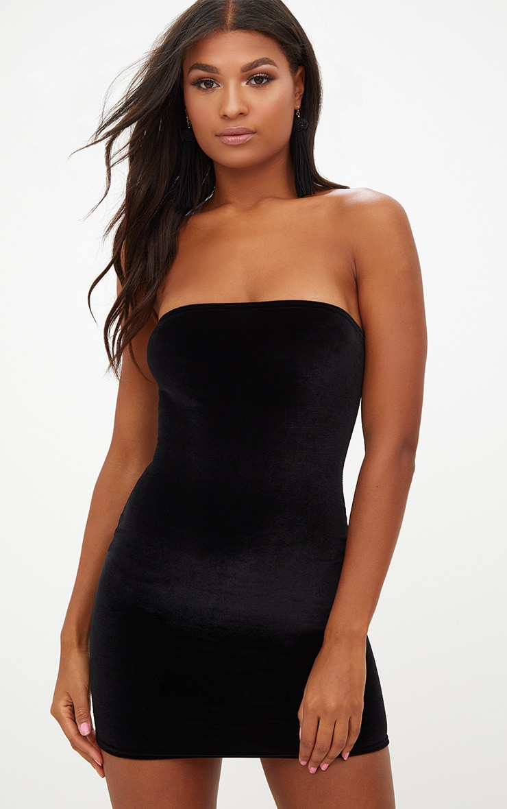 Black Velvet Bandeau Bodycon Dress 1