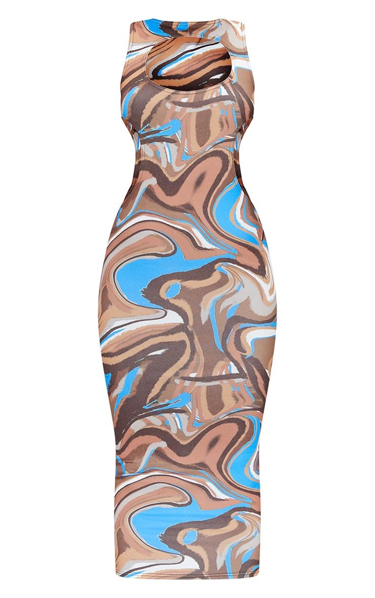 Brown Marble Print Slinky Waist Cut Out Sleeveless Midaxi Dress 5