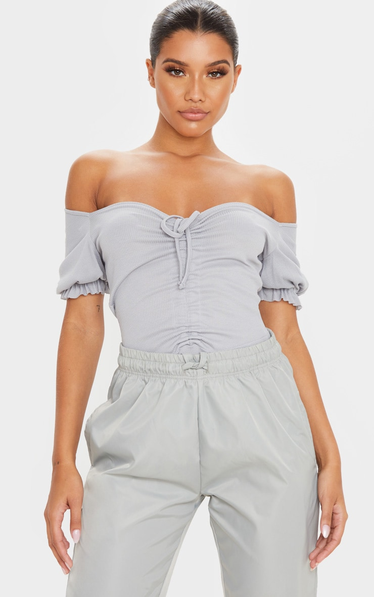 Grey Rib Ruched Front Short Sleeve Bodysuit 1