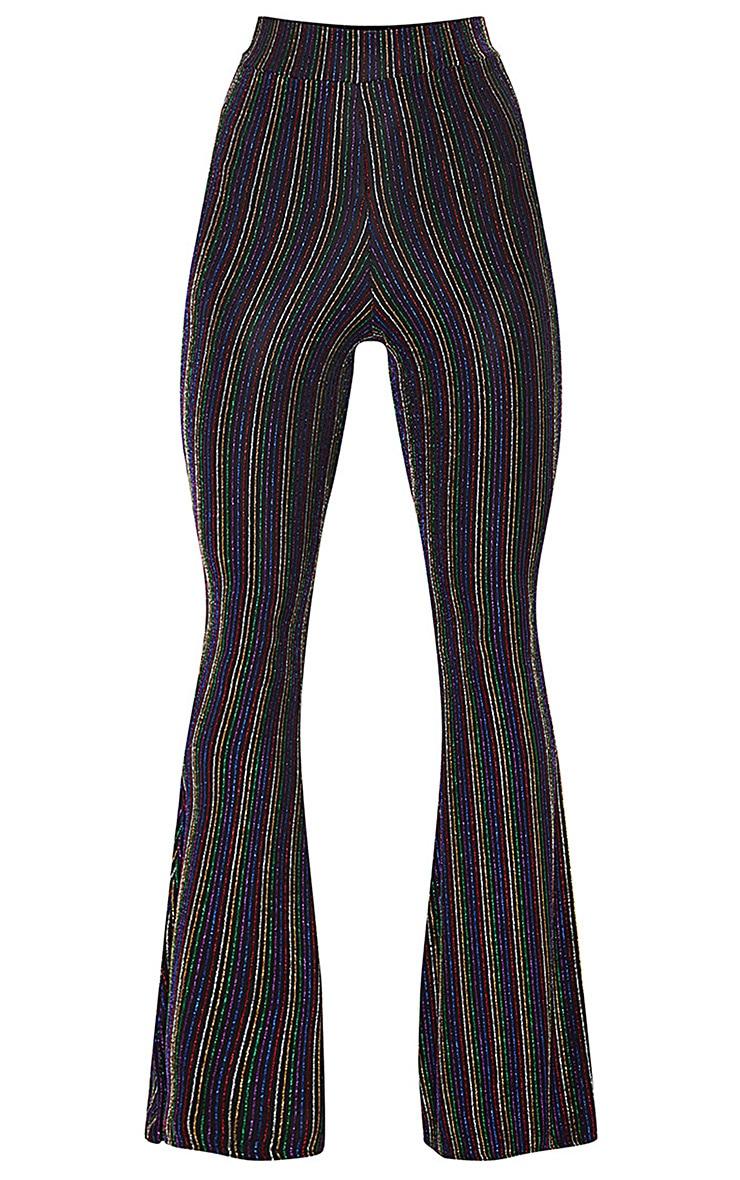 Black Rainbow Stripe Glitter Pants  3
