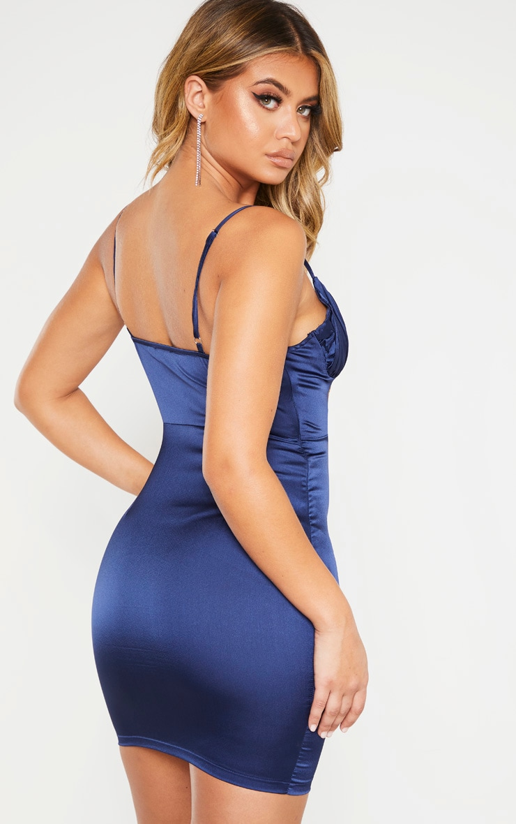Midnight Blue Satin Ruched Bust Bodycon Dress 3