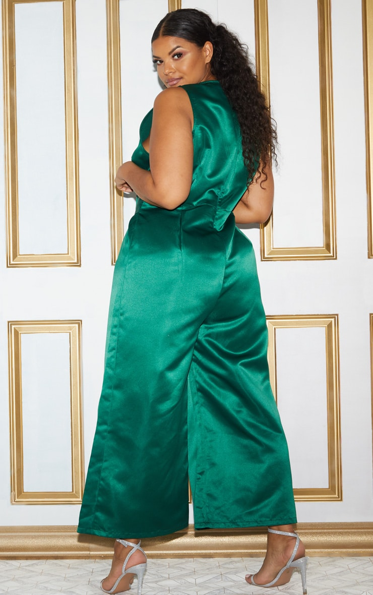 Plus Green Satin Belt Culotte Jumpsuit 4