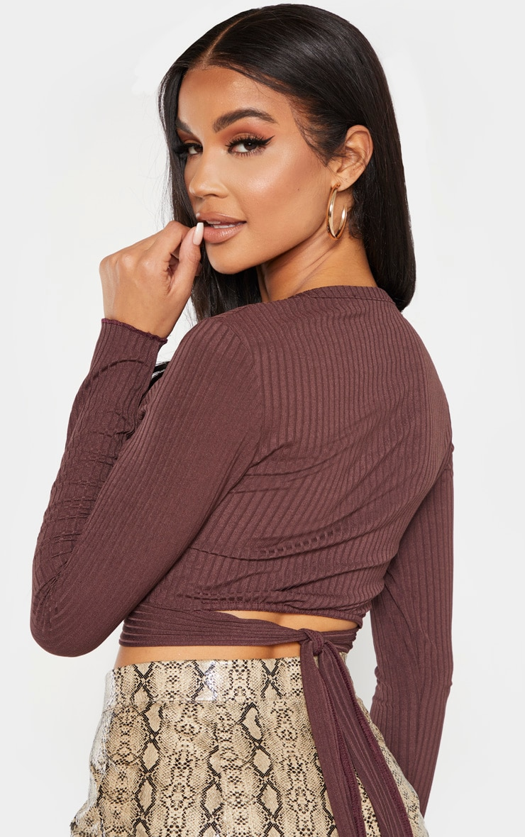 Chocolate Rib Tie Scoop Neck Crop Top 5