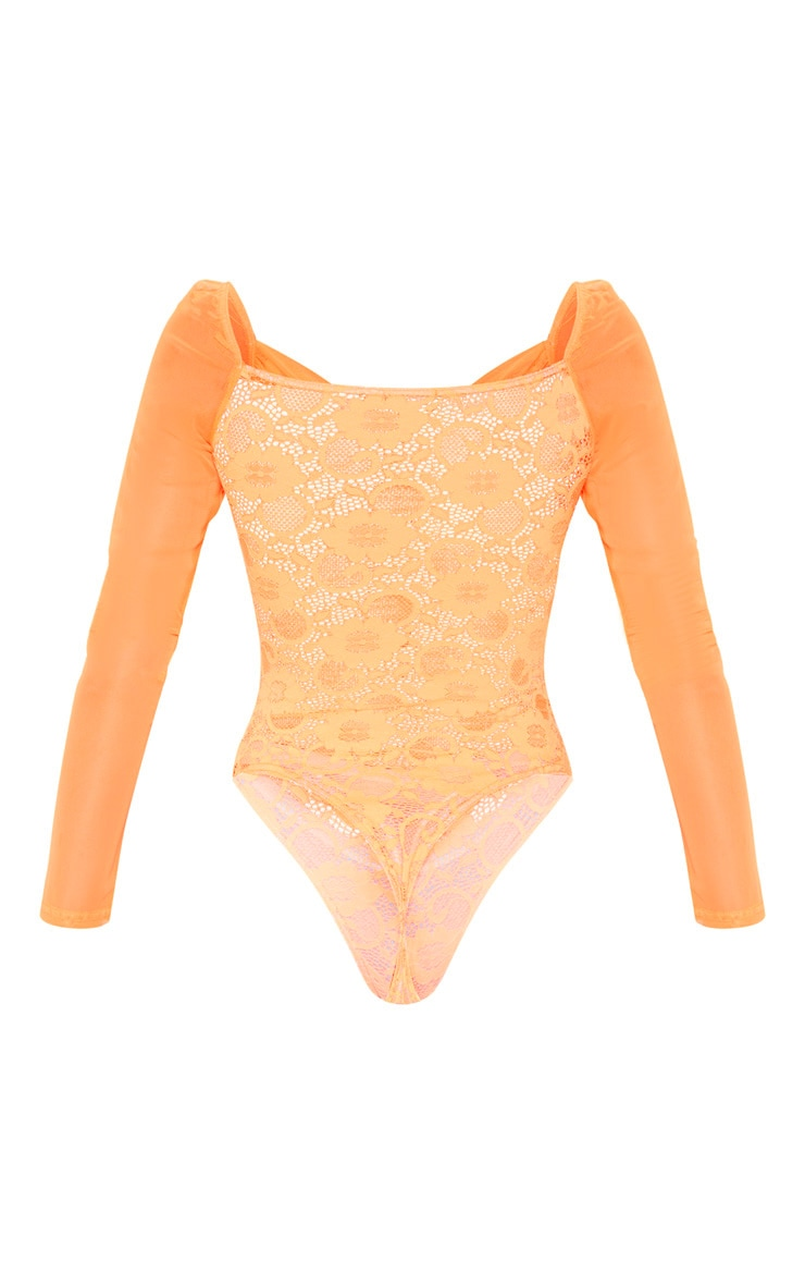 Orange Chiffon Sleeve Lace Bodysuit 4