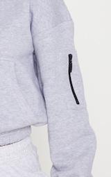 Grey Oversized Zip Front Sweatshirt 5
