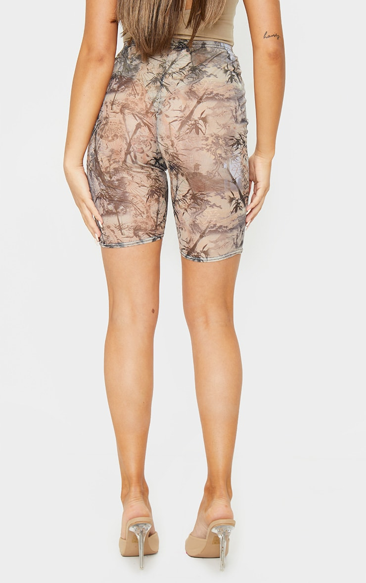 Nude Washed Oriental Print Mesh Cycle Shorts 3