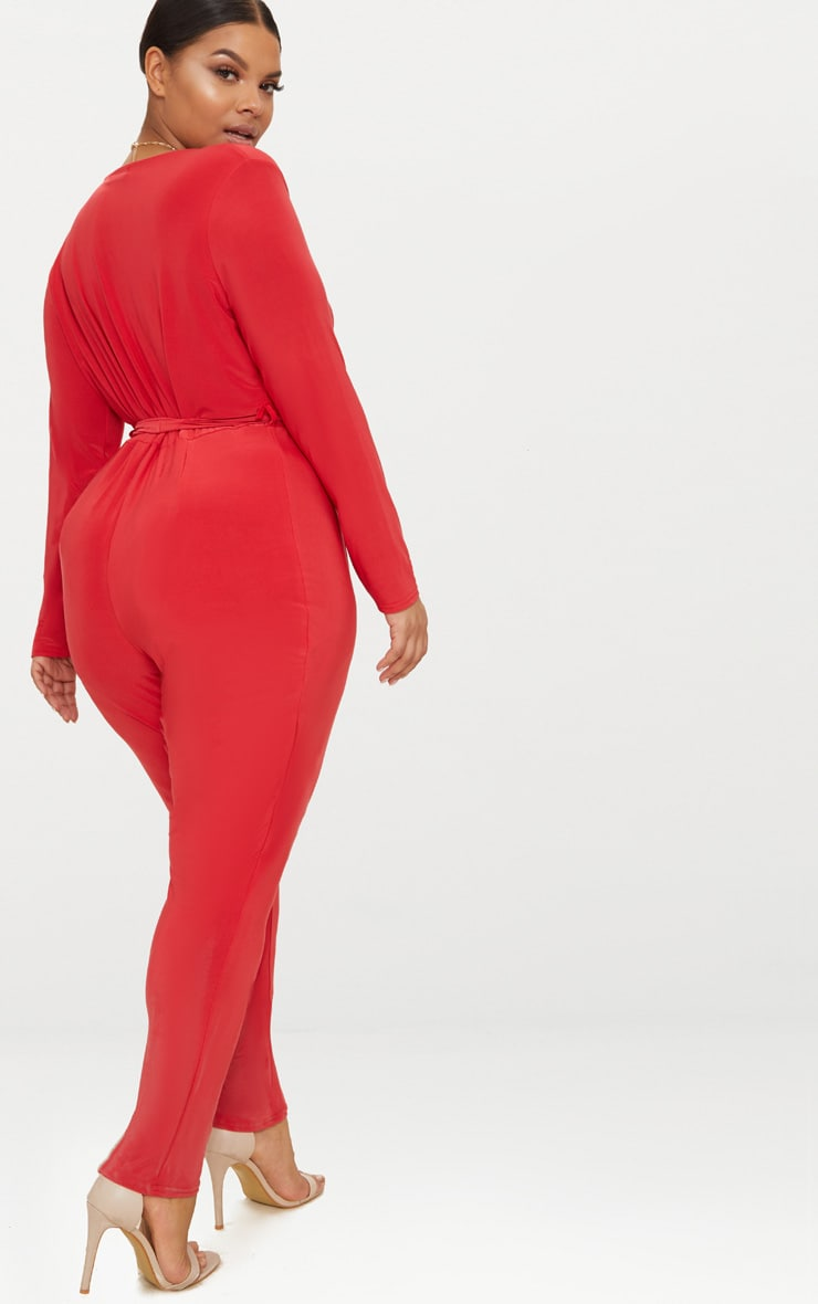 Plus Red Slinky Wrap Front Jumpsuit 2