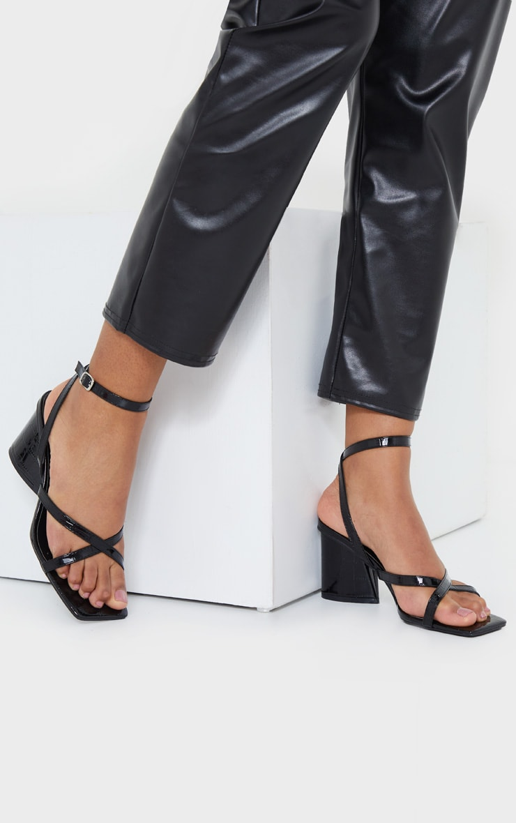 Black Tear Drop Block Heel Square Toe Cross Strappy Sandals 1