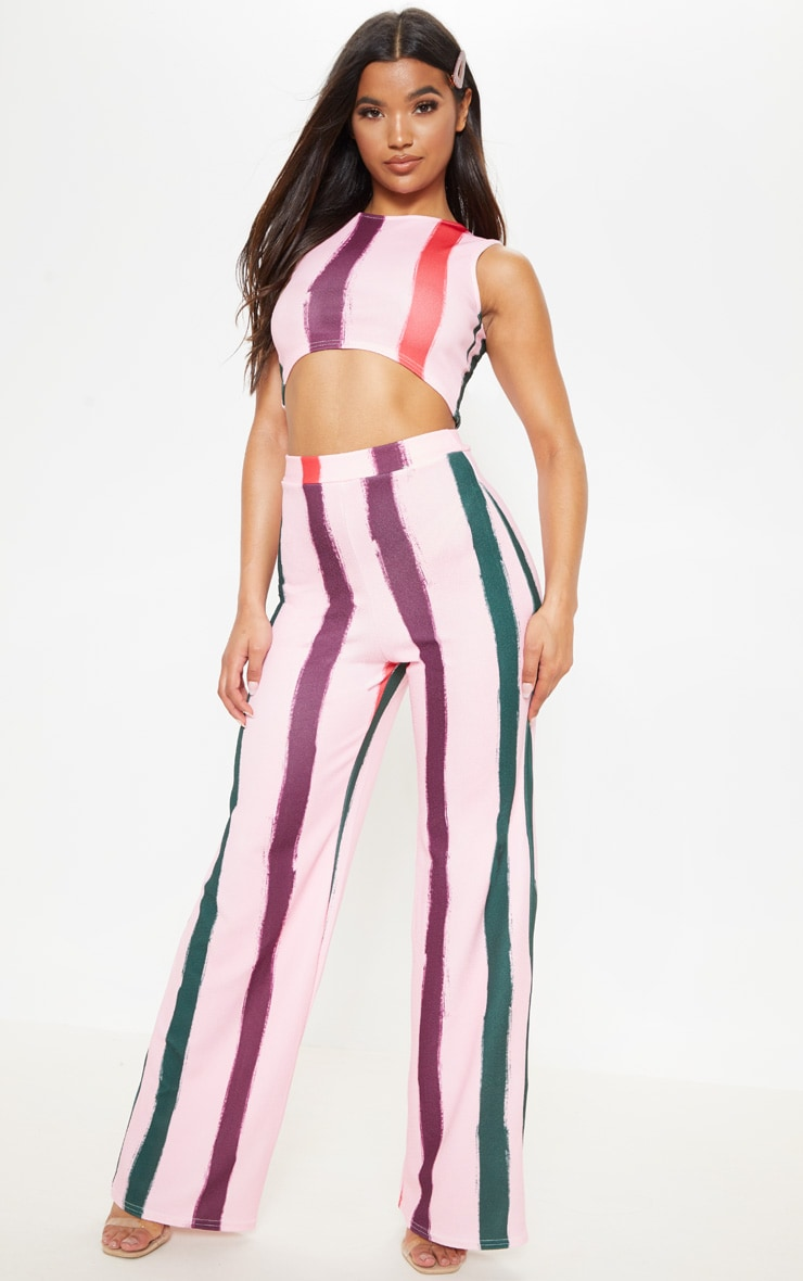 Crop top rose clair à bandes multicolores 4