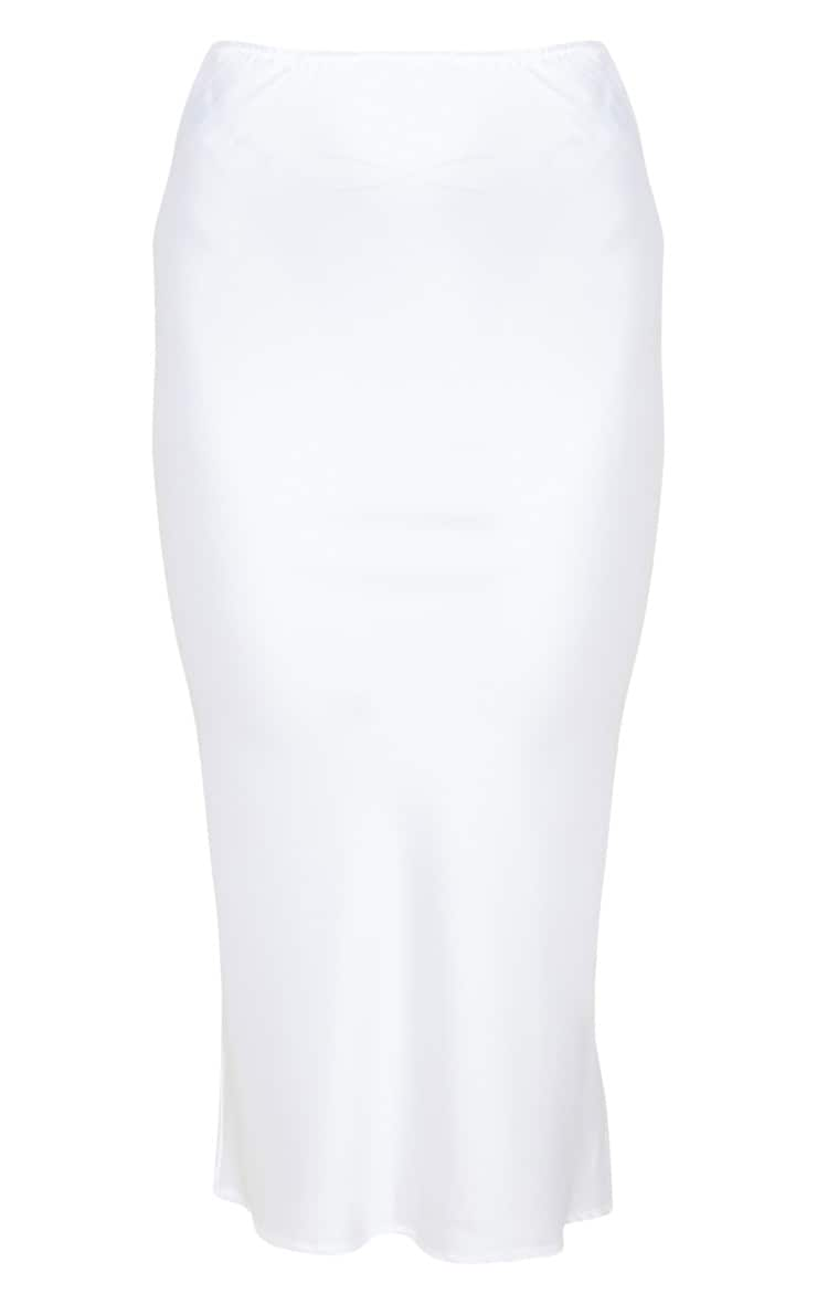 White Satin Midi Skirt 3