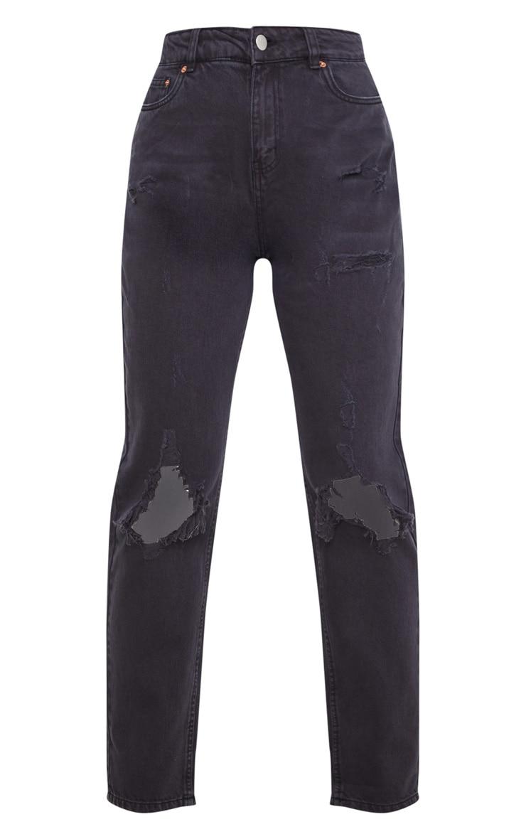 Black Distressed Knee Rip Straight Leg Jeans 3