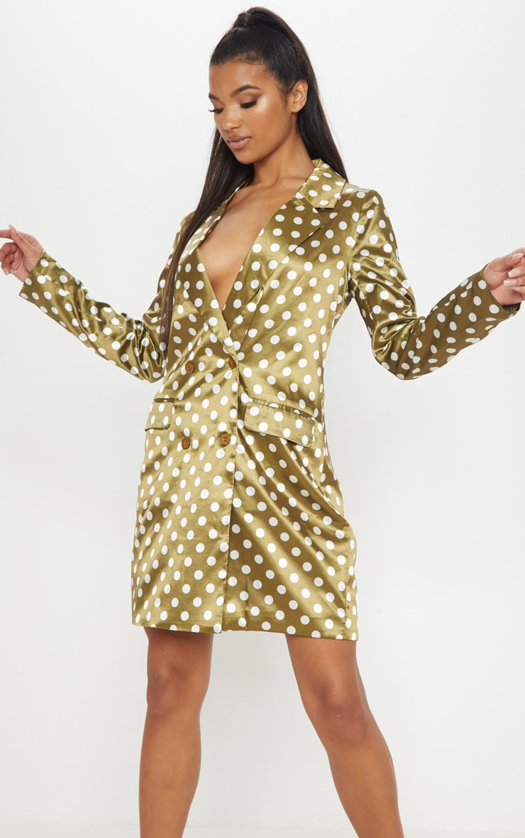 Khaki Polka Dot Satin Blazer Dress 1