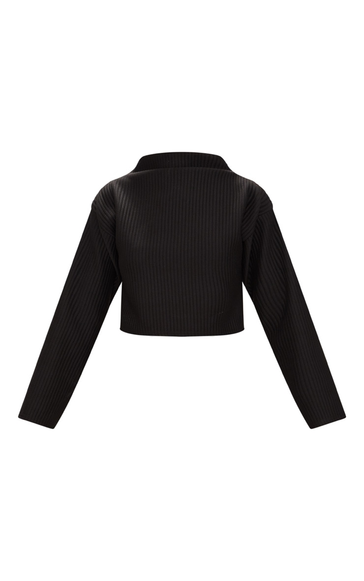 Black Jumbo Rib High Neck Sweater 3