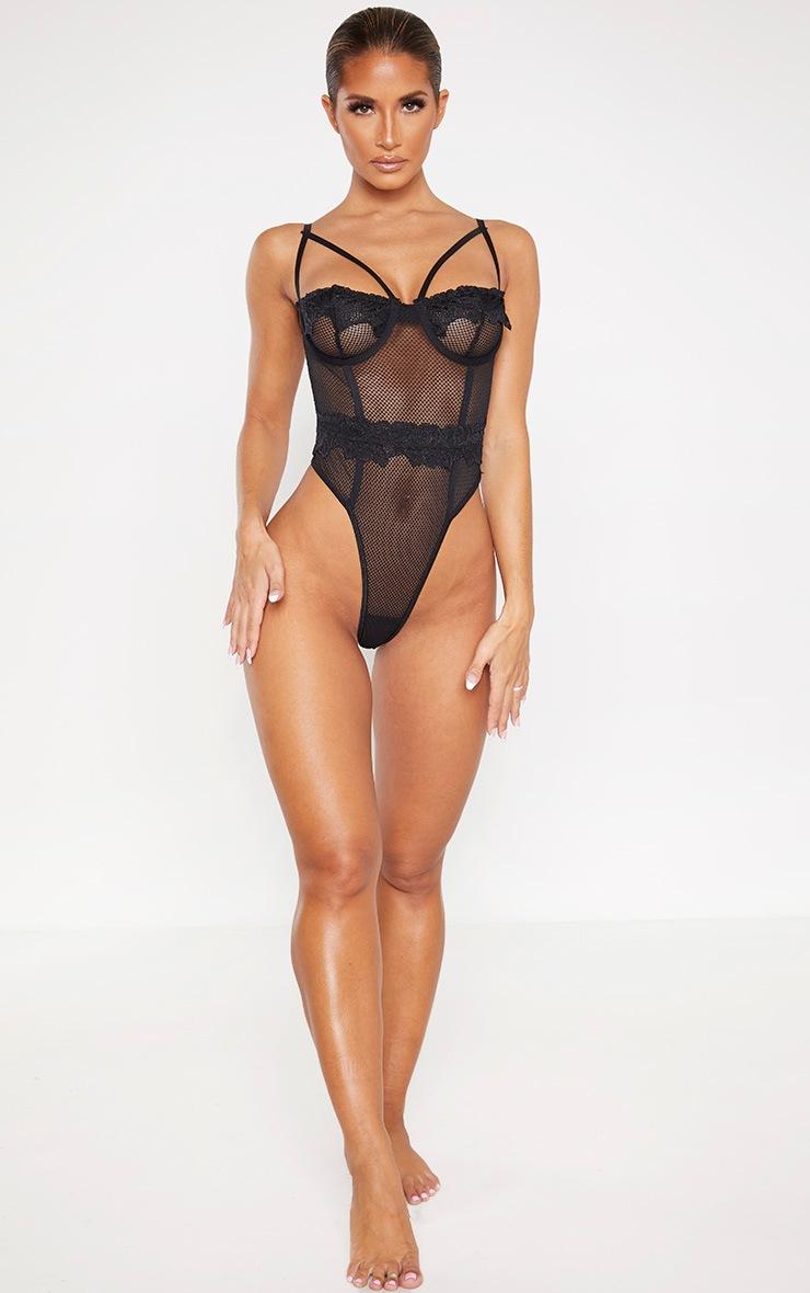 Black Harness Strap Demi Cup Fishnet Body 5