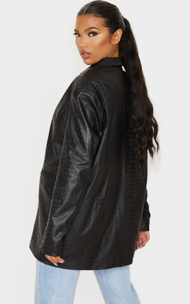 Black Faux Leather Croc Oversized Dad Blazer 2