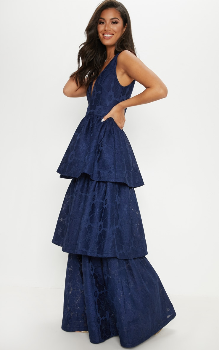 Navy Bonded Lace Tiered Maxi Dress 4