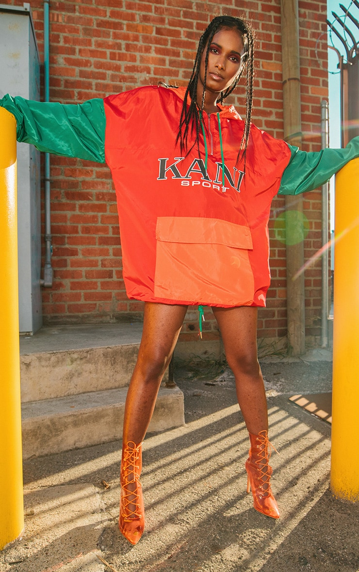 KARL KANI Red Colour Block Oversized Shell Dress 2