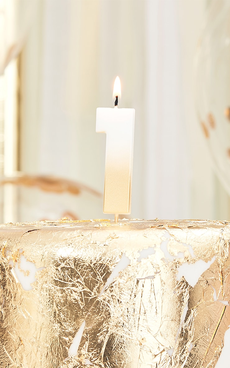 Ginger Ray Gold Ombre Number Candle 1 1