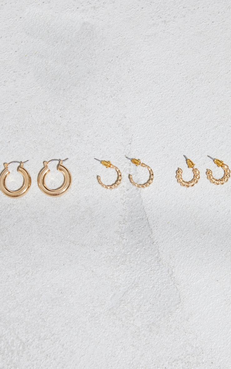 Gold Dainty Assorted 3 Pack Mini Hoop Earrings 2