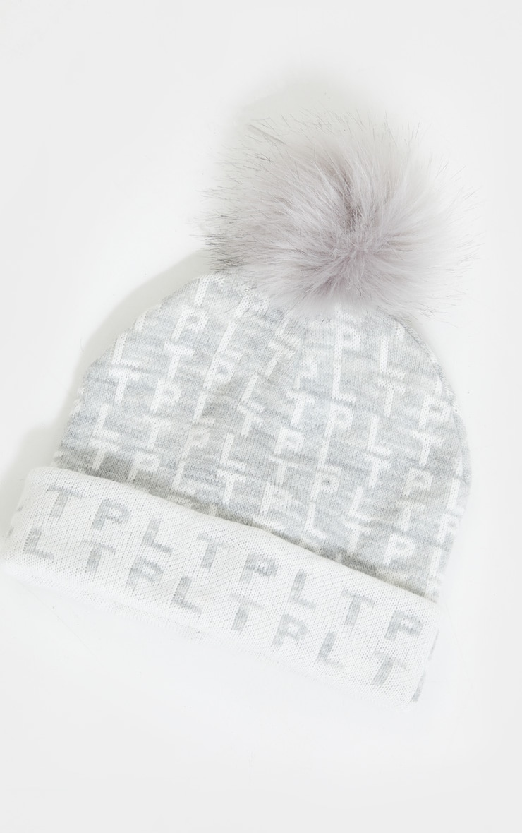PRETTYLITTLETHING All Over Pom Pom Grey Beanie 3