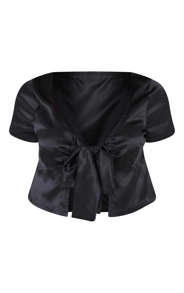 Black Satin Tie Front Short Sleeve Blouse 5