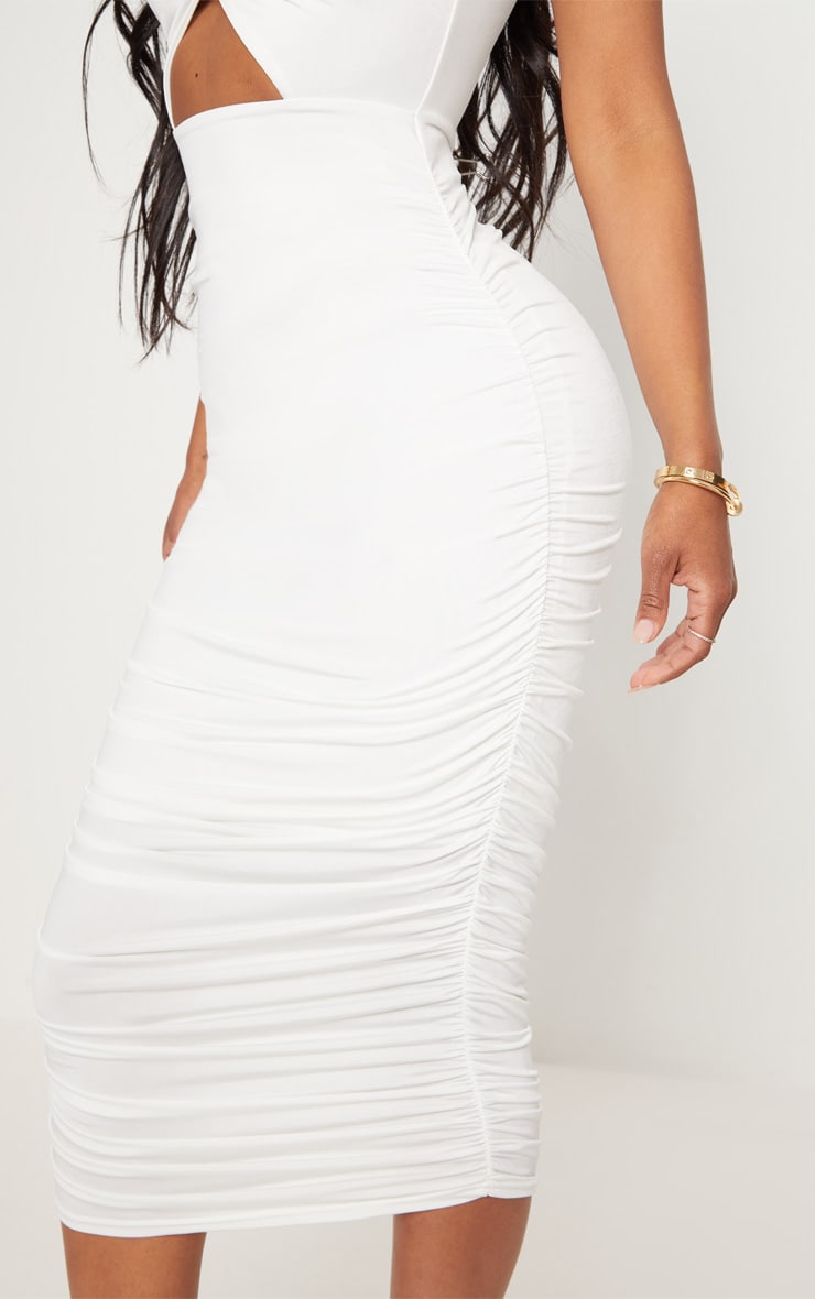 Shape White Slinky Cut Out Ruched Bandeau Midi Dress 5