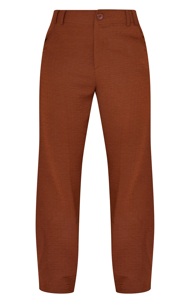 Petite Chocolate High Waisted Pocket Detail Trousers 5