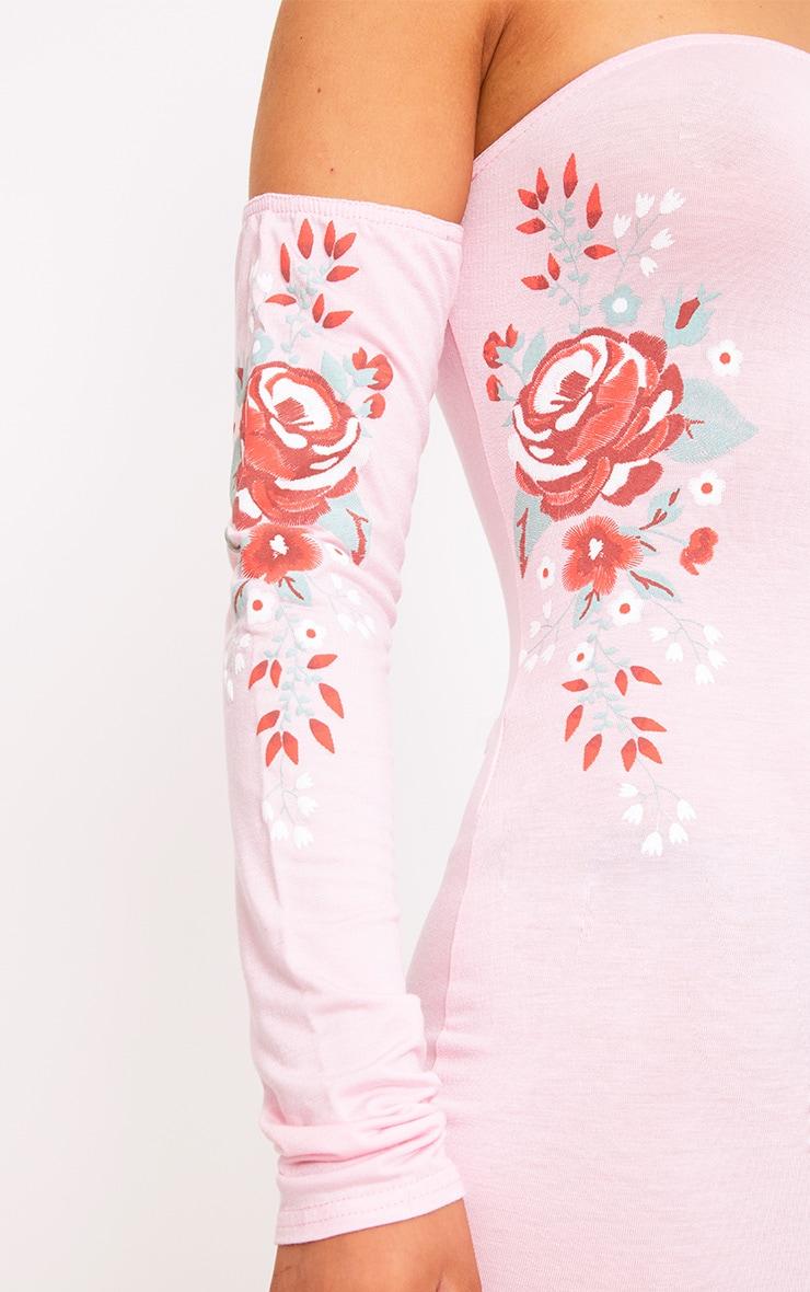 Baby Pink Bardot Printed Bodycon Dress 5