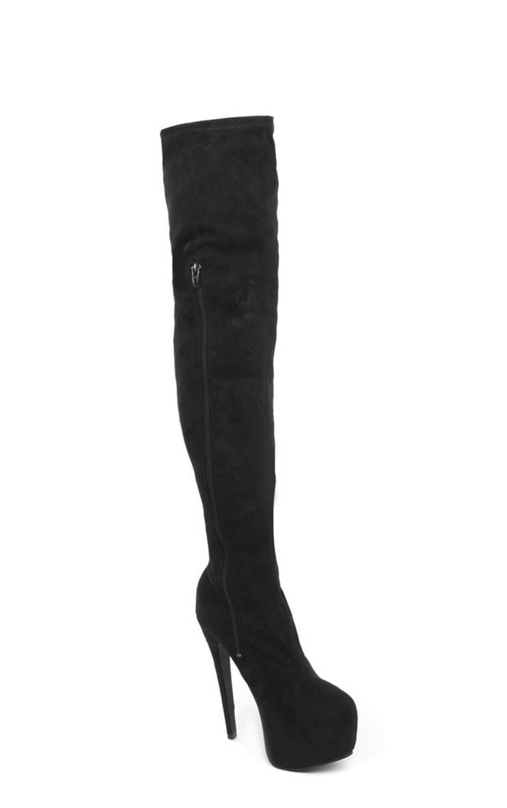 Izzy Black Suedette Over The Knee Boots 4